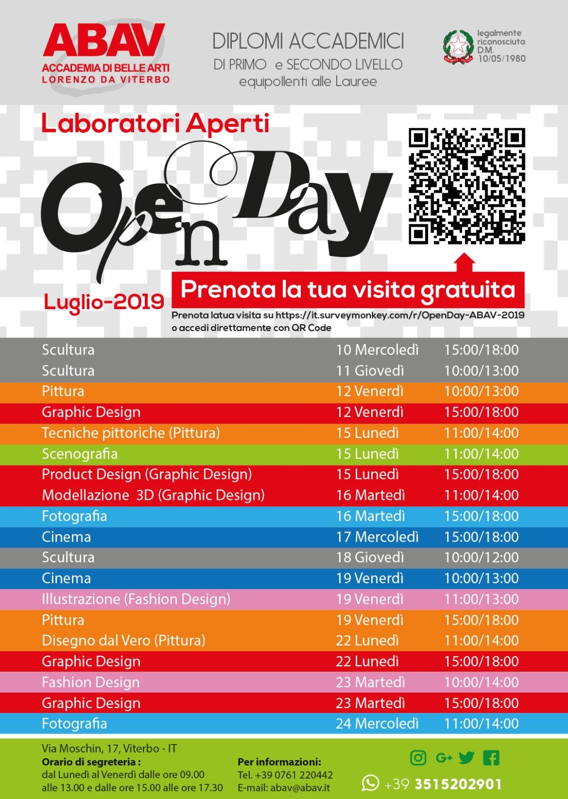Calendario Anno 1980.Open Day Luglio 2019 Accademia Abav